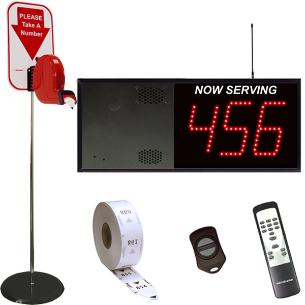3-Digit Wireless Take A Number VoiceBox System Floor Dispenser