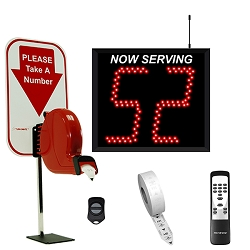 2 Digit Take A Number Wireless Jumbo System with Counter Ticket Dispenser