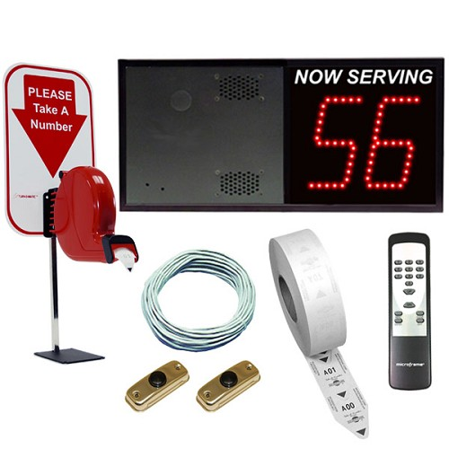 2-Digit Take-A-Number VoiceBox System with Counter Ticket Dispenser