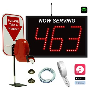 3-Digit Wi-Fi Take-A-Number System with Counter Ticket Dispenser