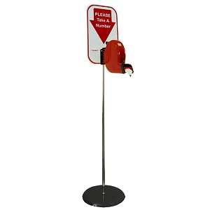 B80 Turn-O-Matic Take A Number Ticket Dispenser Floor Stand Kit - Free Ticket Roll